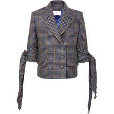 Guadalupe Houndstooth Jacket | Moda Operandi ($198) ❤ liked on Polyvore featuring outerwear, jackets, houndstooth jacket, hounds tooth jacket and double breasted jacket