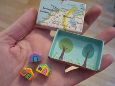 Miniature House Set Micro Mini Tiny City Teeny Tiny Village Cute Play Set in a Box Special Keepsake Gift Diy And Crafts, Crafts For Kids, Arts And Crafts, Paper Crafts, Matchbox Crafts, Matchbox Art, Altered Tins, Altered Art, Creation Deco