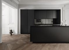 OMG - wall mouldings, Matte black kitchen with smoked mirror splashback Black Kitchens, Cool Kitchens, Kitchen Black, Kitchen Wood, Kitchen Island, Kitchen Ideas, Minimal Kitchen, Fitted Kitchens, Paris Kitchen