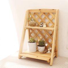 $11 Wood flower shelf / storage wooden shelf / magazine rack / shelving / gardening flower racks / debris storage ZAKKA grocery-ZZKKO