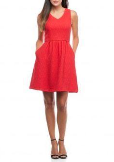 Kaari Blue  Red Hots Jacquard Fit  Flare Dress