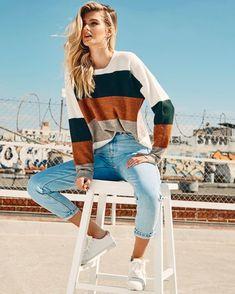 1f5c7e00055 Soft colorblock oversized sweater - multi