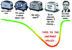 A funny illustration of the 'Uncanny Valley.' this shows the jump from caricature to photorealism, and the awkward moment in the middle when the toaster falls into the uncanny valley. Marlon Brando makes for a fairly creepy toaster.