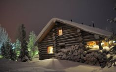 High-quality houses made of wood - Элитные дома из дерева - Casas de alta calidad de la madera Winter Cabin, Cozy Cabin, Winter Snow, Snow Cabin, Winter Trees, Winter House, Cabin Homes, Log Homes, Wooden Lodges