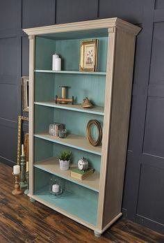 Shabby Chic Pine Bookcase with Bun Feet artwork