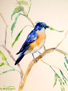 Bluebird original watercolor painting 12 X 9 in by ORIGINALONLY, $24.00