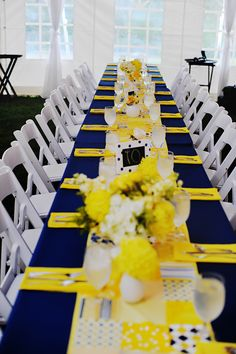 Sunshine Yellow And Navy Blue Tablecloth Estate Table Decor Shared On The Knot