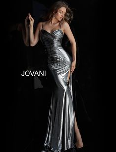 83c3fa7fa19 Style 57990 from Jovani is a sweetheart neck Metallic Ruched Bodice High  Slit Prom gown with spaghetti straps.