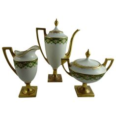 Limoges Pouyat Porcelain Federal Style Bachelor Coffee Set from Ornaments Exclusively on Ruby Lane