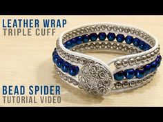 Leather Wrapped Triple Cuff Leather wrapped bracelets are huge right now! Try out this gorgeous variation with our FREE leather wrap triple cuff video tutorial… Wrap Bracelet Tutorial, Beaded Bracelets Tutorial, Beaded Cuff Bracelet, Crochet Bracelet, Macrame Tutorial, Beaded Leather Wraps, Braided Leather, Leather Cord, Diy Jewelry Tutorials