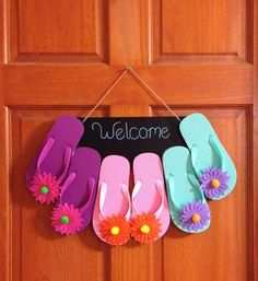 A personal favorite from my Etsy shop https://www.etsy.com/listing/291803557/summery-flip-flop-welcome-sign