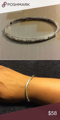 """Words of Wisdom Stretch Bracelet Inscribed Sterling silver, """"Live Laugh Love Inspire Blessed"""". Easy to wear & easier to put on as it stretches! Silpada Jewelry Bracelets"""