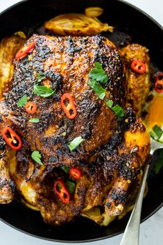 Indian-spiced roast chicken is juicy delicious and perfect for family dinner served with fresh and cooling cucumber salad roastchicken dinnerrecipe Roast Chicken Recipes, Meat Recipes, Indian Food Recipes, Asian Recipes, Vegetarian Recipes, Cooking Recipes, Healthy Recipes, Recipe For Roasted Chicken, Roast Chicken Marinade
