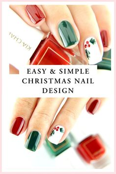 To all you Christmas fans – we have a special tutorial for you today! In today's video we are sharing a simple & easy yet beautiful Christmas nail art design which any one of us can easily recreate at home! Christmas Gel Nails, Xmas Nail Art, Holiday Nail Art, Christmas Nail Art Designs, Christmas Christmas, Christmas Makeup, Diy Christmas Nails Easy, Nail Art At Home, Diy Nails