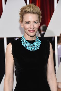 Cate Blanchett's stunning Tiffany & Co. turquoise necklace finished her Maison Martin Margiela black dress, making a statement for all to see. Cate Blanchett, Celebrity Jewelry, Celebrity Style, How To Make Necklaces, Work Looks, Nice Dresses, Celebs, Style Inspiration, My Style
