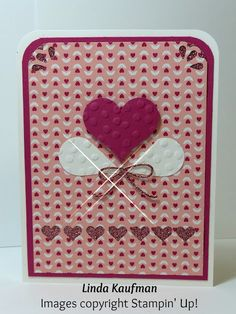 Linda K's Stampin' Page: Love Blossoms DSP Stack Sweetheart Punch Art Valentine's Day Card
