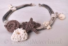 Beachcombing - crocheted and knitted sealife themed fiber art necklace collar OOAK by Evelda's Neverland