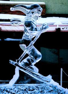 Skier, Northern Michigan Skier, Skier Ice Sculpture.