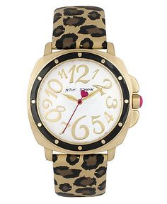 Betsey Johnson Watch, Women's Brown Leopard Print Leather Strap 38mm BJ00044-09 - Betsey Johnson - Jewelry & Watches - Macy's