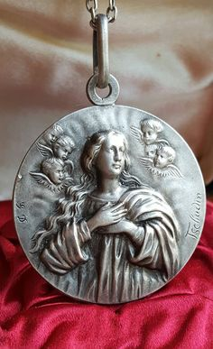 Large Vintage Spanish Blessed Mother Medal Pendant Signed Tschudin Art Nouveau Virgin Mary Blessed Virgin Mother Mary High Relief by SacredBarcelona on Etsy
