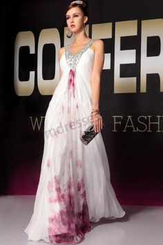 White V-neck Printed Sleeveless Chiffon Quinceanera Party Dress S699