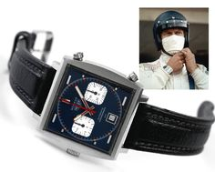 """THE actual Tag Heuer Monaco worn by Steve McQueen when filming """"LeMans"""".    It sold at auction in 2009 for $87,600..."""