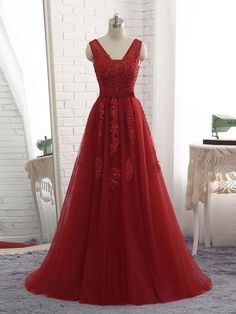 Long Red Backless Prom Dresses V Neck Tulle Applique Formal Ball Gowns - SheerGirl