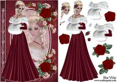 Beautiful Red Rose Fashion Reflections Decoupage on Craftsuprint designed by Sue Way - A striking card front with a beautiful lady with a red rose in her blonde hair. She has her reflection in cameo. The cameo is framed by a pretty garland of flowers. Includes step by step layers