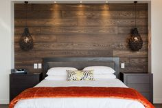 Feature wall using engineered oak (reference Engineered Timber Flooring, Sawn Timber, French Oak, Bed, Interior, Wall, House, Furniture, Home Decor