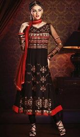 Black Color Embroidered Georgette Anarkali Dress.  #longanarkali #anarkalisuitsatlowprice   Rewrite your fashion statement adorning your looks in this black color embroidered georgette Anarkali dress. The attractive lace and resham work a substantial feature of this attire.