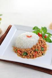 Pad Ka Pao, Rice topped with stir-fried pork and basil