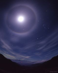 Lunar Halo - Lunar and solar halos are caused when light passes through ice crystals formed in clouds through the sky. Credit: Shingo Takei