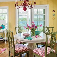 For inspiration, they turned to the Dorothy Draper--designed interiors of The Grand Hotel on nearby Mackinac Island. The landmark's whimsical, multicolor rooms struck a chord with the Borisches.: