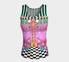 Cute Black & White Checkerboard with Poodles Long Fitted Tank Top, Yoga Top, Workout Wear, Pretty Top, Dress Up, Active Wear, Dance Wear Picasso Style, Vintage Moon, Striped Background, Yoga Tops, Workout Tank Tops, Workout Wear, Cute Tops, Dance Wear, Black Stripes