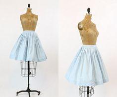 50s Skirt Circle XS / 1950s Skirt Cotton Full / Powder Blue Skies Skirt