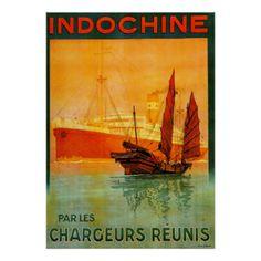 Voyage français vintage de paquebot de ~ poster