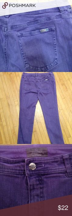"""Chico's So Slimming Jeans Awesome purple skinnies from Chico's So Slimming line of denim. Excellent condition!  Chico's size 0.5 which converts to a size 6. Inseam 29"""". Rise 9"""". Waist 16"""" across. Chico's Jeans Skinny"""