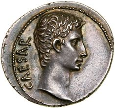 Augustus. Silver Denarius (3.78 g), 27 BC-AD 14. Pergamum, 27 BC. CAESAR, bare head of Augustus right. Reverse : AVGVSTVS, bull standing right. RIC 475; BMC 662-3; RSC 28. Goldberg Coins and Collectibles
