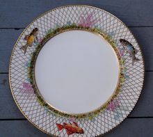 Rare 1883 Minton Plate. Hand Painted Fish Raised Gold Net