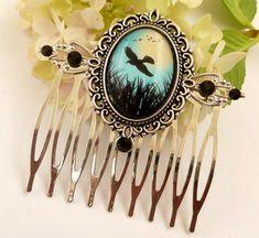 Edler Haarkamm mit Vogel und Landschaft in silber von Schmucktruhe
