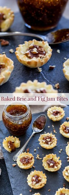 Baked Brie and Fig Jam Bites. Only 4 ingredients and 10 minutes to make this str… Baked Brie and Fig Jam Bites. Only 4 ingredients and 10 minutes to make this stress free, sweet and savory bite! - Everything About Appetizers Holiday Appetizers, Yummy Appetizers, Appetizer Recipes, One Bite Appetizers, Party Appetizers, Brie Appetizer, Holiday Foods, Brie Bites, Fig Recipes