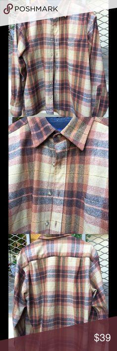 "Pendleton Vintage Men's Lodge Shirt This iconic brown plaid shirt is one your guy would love! It is a symbol of surfers and freedom since 1953. Made of 100% Virgin Wool in Portland, Oregon it is both warm and ""cool."" It is in perfect condition and will last a lifetime! Pendleton Shirts"