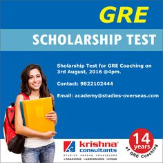Appear for GRE Scholarship test and win scholarship of upto 50% on coaching fees.