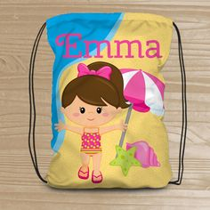80e468db85f Personalized Drawstring Backpack for Kids - Beach Backpack for Girls -  Kids  Beach Fabric Bag - Beac