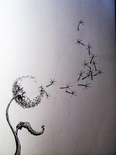 Dandelion Tattoo across the shoulders (I LOVE the pen & ink technique)