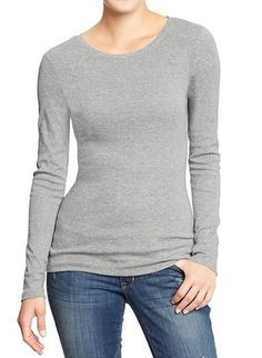 ****Women's Perfect Tees**** A classic tee, like this one from Old Navy, is an essential addition to your #workfromhome closet. Before starting the day, change out of your slouchy (but coveted) nightshirt for this tag-free cotton blend shirt. You will feel just as relaxed, but endlessly more professional. Source: Old Navy