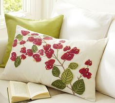 Bougainvillea Branch Embroidered Lumbar Pillow Cover   Pottery Barn 49.50