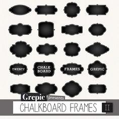 Chalkboard frames clipart: Digital frames CHALKBOARD by Grepic