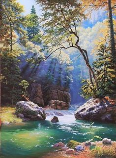(notitle) – Stefanie Gross – Join in the world of pin Nature Paintings, Beautiful Paintings, Beautiful Landscapes, Fantasy Landscape, Landscape Art, Landscape Paintings, Summer Landscape, Pictures To Paint, Nature Pictures
