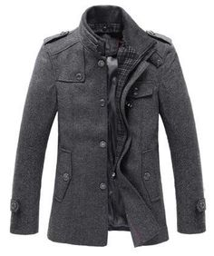 Stylish Stand Up Collar Men's Mid Length Wool Blend Coat
